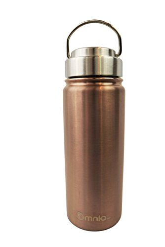 Omnia h2o Canteen -18oz Vacuum Insulated Stainless Steel Water Bottle - Wide Mouth Flask with All Metal Lid - Enjoy Hot and Cold Drinks in this Sweatproof Water Bottle (Bronzed)