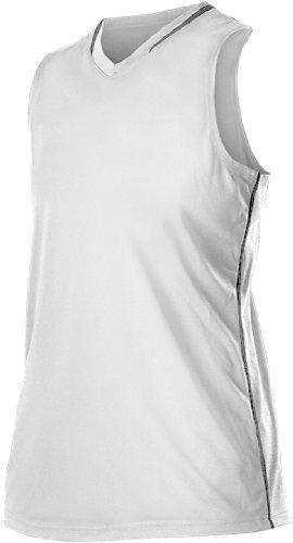 Alleson Girl 'sレーサーバックFastpitch Jersey B00K4XUWJCホワイト/チャコール Small