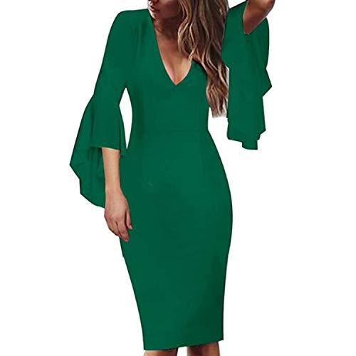 2019 Womens Sexy Deep V-Neck Flare Bell Long Sleeves Casual Party Dress Office Lady WQL5741,Green,XXL,China