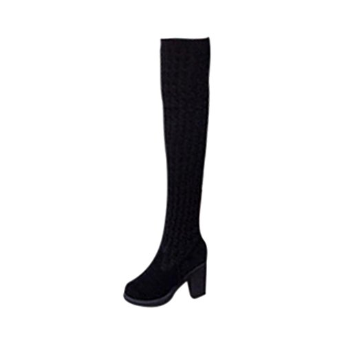 Elevin(TM)2017Women Winter Fashion Toe Elastic Stretch Thick Heel Knitting Over Knee Boots Shoes Black