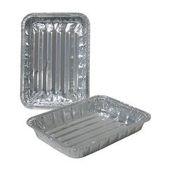 """Set of 36 - Small Toaster Oven Disposable Reusable Aluminum Healthy Cooking Broiler Pans with Raised Ridges, 8 3/8""""x6 7/8""""x1 1/3"""""""