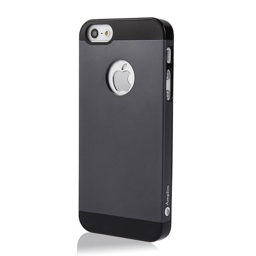 Amplim Alloy for Apple iPhone SE / 5 / 5S: Premium Gray Anodized Aluminum + PC Hard Case (AT&T, Verizon, Sprint, T-Mobile) Retail Packaging