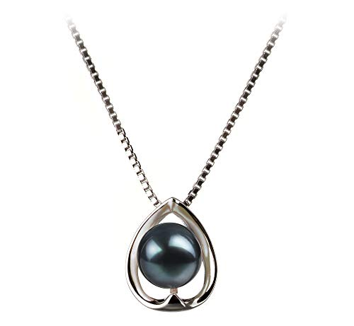 Amanda Black 6-7mm AA Quality Japanese Akoya 925 Sterling Silver Cultured Pearl Pendant For Women ()