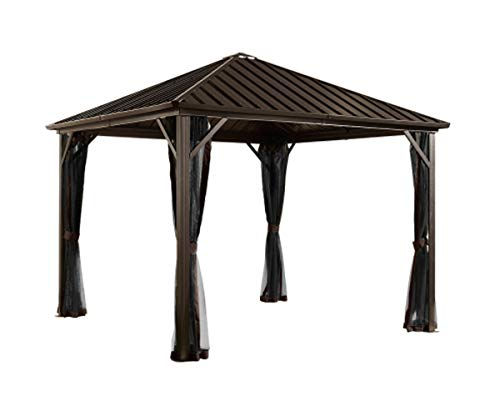 - Sojag 10' x 12' Dakota Hardtop Gazebo Outdoor Sun Shelter, Black,Brown