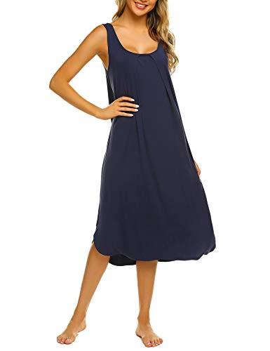 Ekouaer Sleeveless Nightdress Maxi Nightgowns Long Sleepshirt Navy Blue Medium