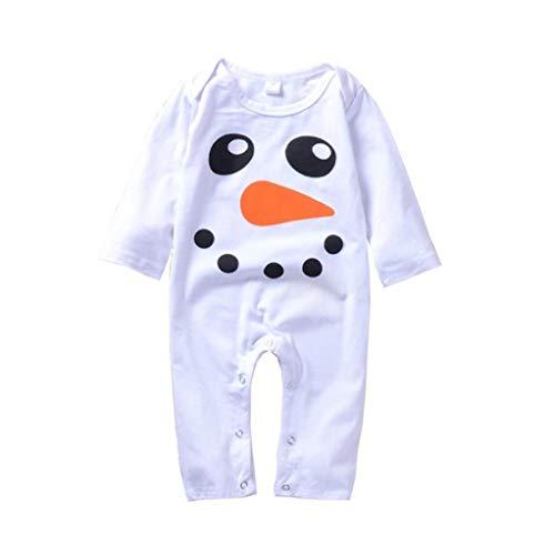 (Fheaven (TM) Newborn Baby Boy Girls Long Sleeves Christmas Snowman Print Romper Jumpsuit Party Bodysuit (White, 6M))