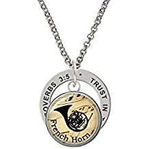 Domed Music - French Horn - Proverbs 3:5 Affirmation Ring Necklace