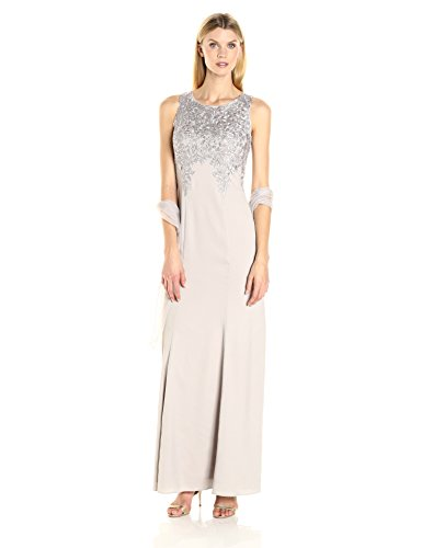Embroidered Evenings Alex Platinum Shawl Dress Womens with Long gt7tawq