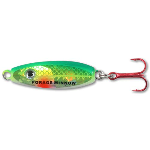Northland FMS3-20 Forage Minnow Jig'n Spoon, 1/8-Ounce, Super-Glow Perch (Fishing Northland)