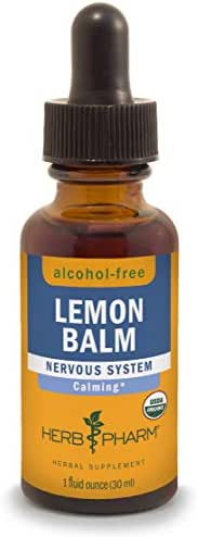 Herb Pharm Certified Organic Lemon Balm Liquid Extract for Calming Nervous System Support, Alcohol-Free Glycerite, 1 Ounce