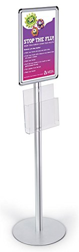 Clear Acrylic Poster Stand (54-inch-tall Snap-Open Poster Stand for 11x17 Graphics, Includes Clear Acrylic Brochure Pocket - Silver)