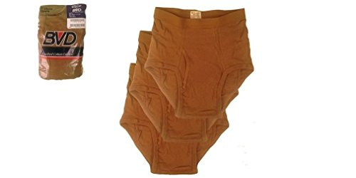 BVD US Military Brown Cotton Briefs, 3 Pack