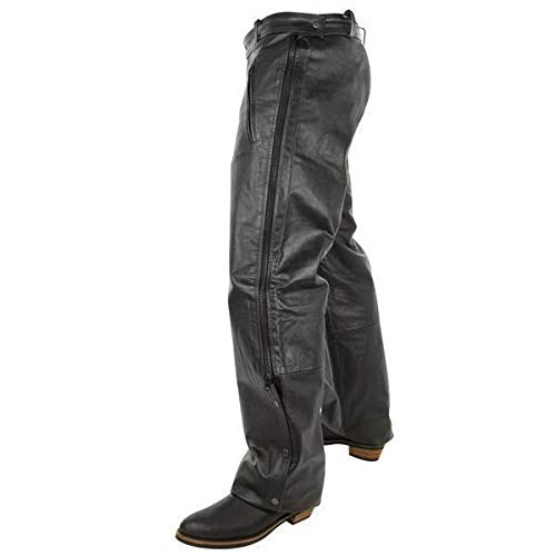 Xelement B7440 Men's Black Leather Motorcycle Overpants with Side Zipper and Snaps - 34 ()