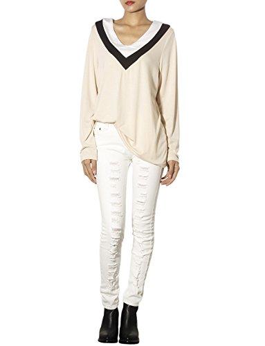 iB-iP Mujer Algodón Punto Ligero Escote En V Estilo Camiseta Camisetas Tejidas Beige