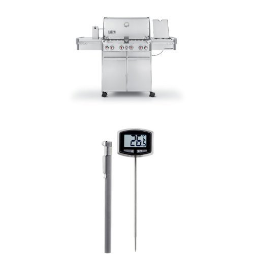 (Weber Summit 7170001 S-470 Stainless-Steel 580-Square-Inch 48,800-BTU Liquid-Propane Gas Grill and Thermometer Bundle)