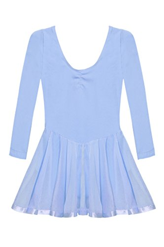 Arshiner Girls'Cute Sweet Dancing Ballet Dress Long Sleeve Leotard (150(Age for 10-11Y), Blue)