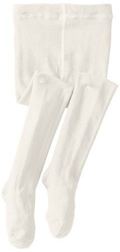 Jefferies Socks Little Girls'  Seamless Organic Cotton Tights, Ivory, 4-6 -