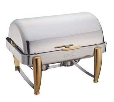 Winco 101A Virtuoso Chafer, 8 Quart, Full Size, Oblong, Roll Top, W/ Food Pan, Water Pan & 2 Fuel (Chafer Top Oblong Roll)