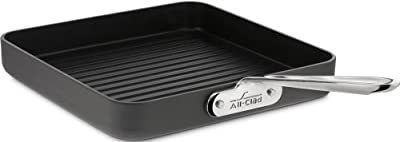 All-Clad 3011 Hard Anodized Aluminum Scratch Resistant Nonstick Anti-Warp Base Dishwasher Safe Square Grill Pan Cookware, 11-Inch, Black