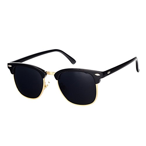 Pro Acme Classic Semi Rimless Polarized Clubmaster Sunglasses with Metal Rivets (Baby Black/Grey/Gold Rimmed, As - Black Gold Sunglasses And Clubmaster