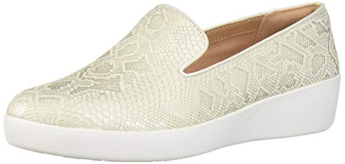 FitFlop Women's Audrey Python Print Smoking Slippers Loafer Flat, Urban White, 6.5 M - Print Leather Sneakers