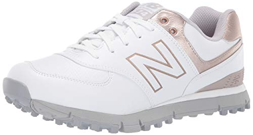New Balance Women's 574 SL Water Resistant Spikeless Comfort Golf Shoe, White/Rose Gold, 8 M US ()