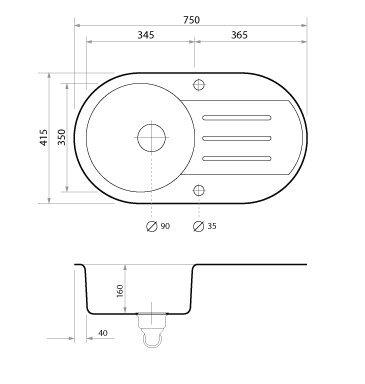1 bac Noir avec siphon automatique /Évier granit Primagran /évier de cuisine