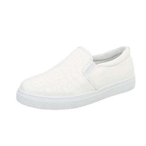 Ital-Design Sneakers Low Damenschuhe Sneakers Low Moderne Freizeitschuhe Weiß D17