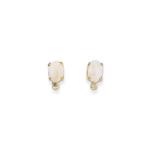 Best Designer Jewelry 14k Diamond & Opal Birthstone Earrings