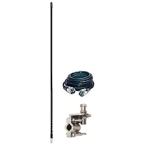 Pro Trucker Single 3' 750 Watt CB Radio Antenna Kit With Mirror Mount, Antenna Stud and 9' Coax Cable - (Cb Radio Mirror Mounts Cable)