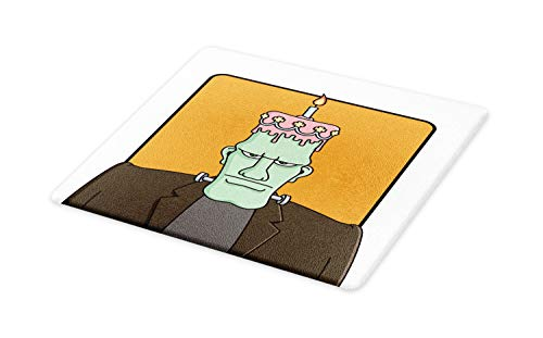 Lunarable Humorous Cutting Board, Funny Cartoon with Frankenstein with Birthday Cake Head Halloween Themed Image, Decorative Tempered Glass Cutting and Serving Board, Small Size, Multicolor ()