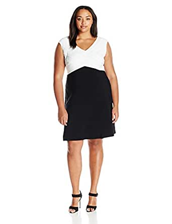 Adrianna Papell Women's Plus Size Criss Cross Baned Jersey Fit N Flare, Black/Ivory, 14W