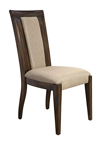- Bombay D2007SCU2230 Cicero Hardwood Upholstered Dining Chairs, Set of 2, Pecan, Brown