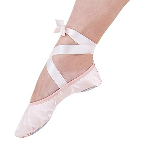 (XJX Satin Ballet Shoes for Girl leather Split Sole Dance Slippers Yogu Shoes Pink 01 25)