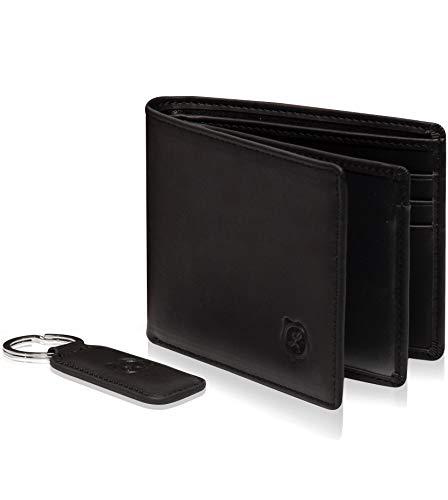 - Genuine Leather Bifold Wallets For Men Front Pocket Slim Mens Wallet 2 ID Window (Black)