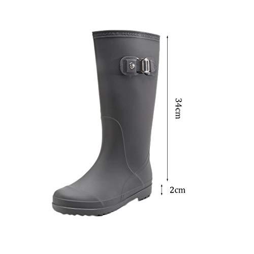 Largo E De Purple 1 Botas color Impermeables Gray Antideslizantes Goma Zapatos Tamaño Lluvia Use 35 Tubo Par Dark xI5Fq5Tz