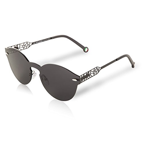 Mulco Sunglasses Black Mirror Shades Frameless Round/Mask Shape 100% UV Protection Black Laser Cut Arm With Black Rubber Finishing Web MK C025 by Mulco Watches Inc