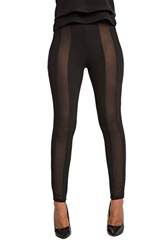 Standards & Practices Contemporary Women's Black Mesh Panel Ponte Legging Size XL
