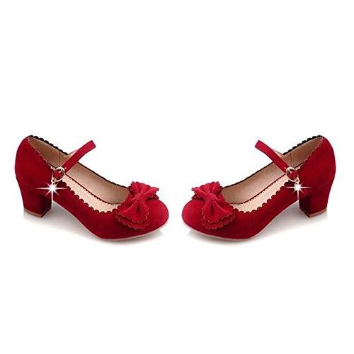 Red Women's Comfort Chunky Heels Shoes Fall Suede Red Black White Heel ZHZNVX IBdqPAxA