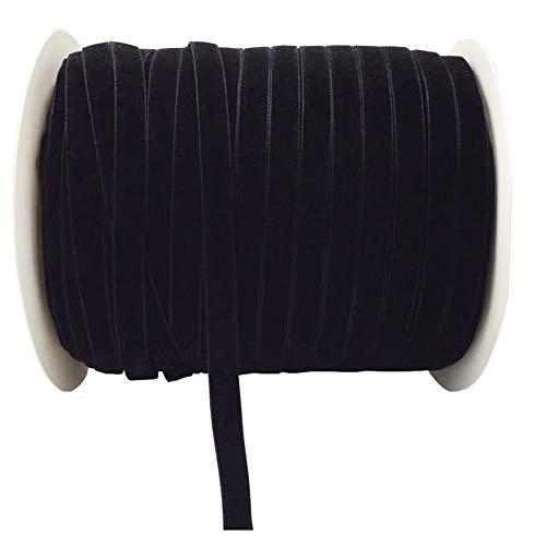 10 Yards Velvet Ribbon Spool Available in Many Colors (Black, 3/8