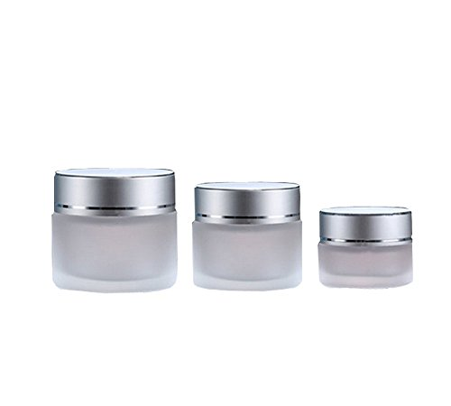 10g/20g/30g 2PCS Clear Glass Refillable Cosmetic Jars Empty Face Cream Lip Balm Storage Container Pot Bottle With White Lids (10g) 0.25 Ounce Glass