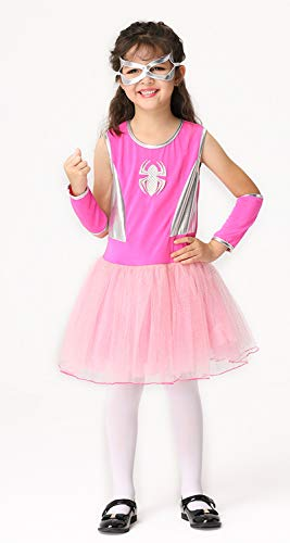 MOCUER Spider Dress Costume for Girls Halloween Superhero Spidergirl Outfits with Accessories Pink -
