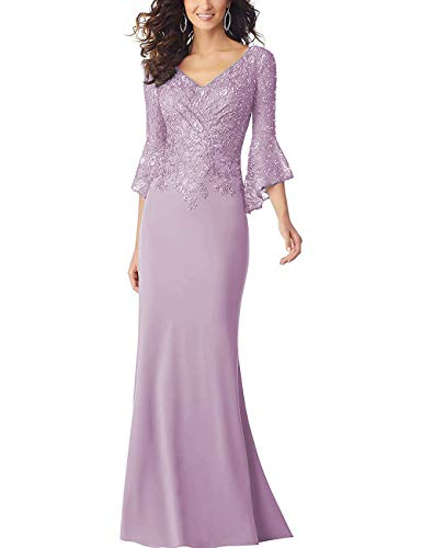 PearlBridal Women's Bodycon Mermaid Mother of The Bride Dresses Lace Ruffle Sleeves Long Evening Party Gown Pink Size 12 (Mother Of The Bride Couture Evening Gowns)