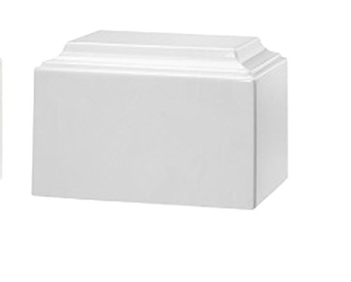 Trinityurns Classic Cultured Marble Cremation Urn for Human Ashes - Adult/Large Size, Marble Urn, Adult Affordable Urn for Human Ashes Suitable for Ground Burial or Home Memorial (Pure White)