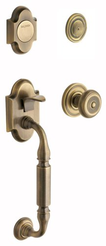 Baldwin 85305.050.FD Canterbury Sectional Trim Dummy Handleset with Colonial Knob, Satin Brass and Black