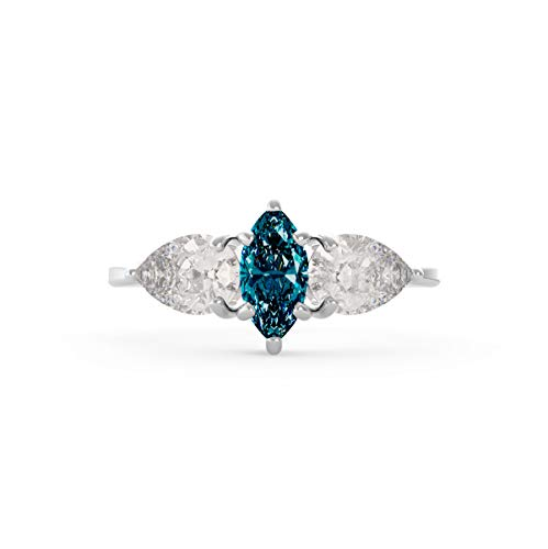 Pear 0.8 Ct Shape - Frostrox IGI Certified 18K Gold 0.80 Carat Pear-Shape White (H-I Color, SI1-SI2 Clarity) and Marquise Blue Color Enhanced (SI2-I1 Clarity) Diamond Engagement Ring for Women