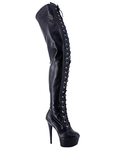 the matt knee 15cm thigh Wonderheel sexy stiletto heel boots platform black over high BTYvwq