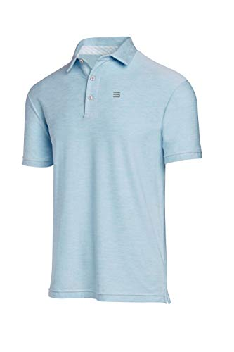 Three Sixty Six Golf Shirts for Men - Dry Fit Short-Sleeve Polo, Athletic Casual Collared T-Shirt Sky Blue