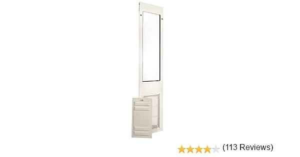 Endura - Panel térmico para puerta de mascota con tapa corredera, puerta de perro con eficiencia energética, pequeña, mediana y grande, XL para puerta de patio con inserto en color bronce blanco