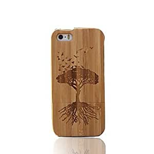 Fashionable Handmade Peaceful Tree Dark Bamboo Wood Protective Case Cover for iPhone 5/5S Phone cases